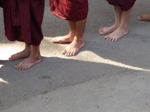 Monks waiting to get breakfast