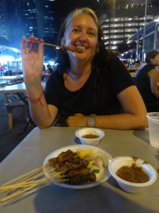 Chicken satay at Lau Pa Sat hawker market