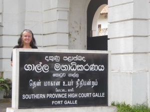 Lisa in Galle at the courthouse