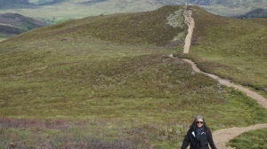 Lisa climbing the hills