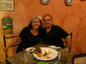 Cuban food.  No idea why there is a leprechaun on the wall.  The frozen mojitos were deadly!