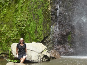 Lisa at the waterfall