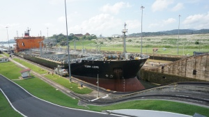 A bigger ship going through the inner canal
