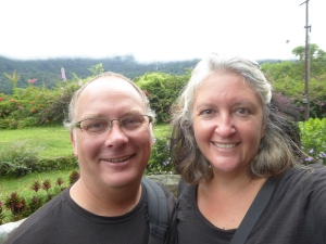 Robert and Lisa in a rare rain-free moment in Boquete