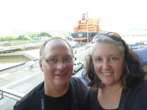 At the locks just after a ship went through