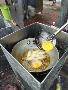 Frying the arepas