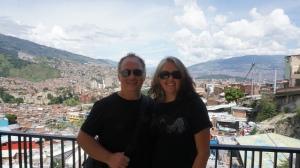 Robert and Lisa at the top of the escalator